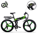 eBike_RICHBIT RLH-860 bicicleta eléctrica bicicleta de montaña plegable MTB e bicicleta 36V * 250W 12.8Ah litio - batería de hierro 26inch rueda integrada de magnesio (verde)