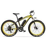 MERRYHE Bicicleta Eléctrica 500W 26 Pulgadas Fat Tire Bicicleta De Montaña Bicicleta De Nieve 48V-10AH Batería Extraíble De Litio Adulto E-Bike Road Citybike Tres Modos De Trabajo,Yellow-48V10AH