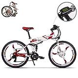 eBike_RICHBIT RLH-860 bicicleta eléctrica bicicleta de montaña plegable MTB e bicicleta 36V * 250W 12.8Ah litio - batería de hierro 26inch rueda integrada de magnesio (rojo)