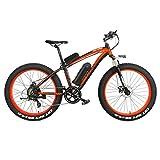 MERRYHE Bicicleta Eléctrica 500W 26 Pulgadas Fat Tire Bicicleta De Montaña Bicicleta De Nieve 48V-10AH Batería Extraíble De Litio Adulto E-Bike Road Citybike Tres Modos De Trabajo,Red-48V10AH