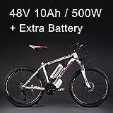 SMLRO 26' 48V 500W La Bicicleta eléctrica de la aleación de Aluminio, 27 velocidades, MTB/la Bici de montaña, adopta los Frenos de Disco del Aceite (10Ah Blanco Rojo Batería Plus)