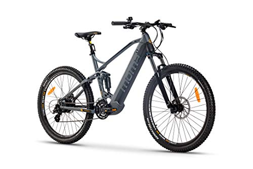 Moma Bikes Bicicleta Eléctrica E-MTB 27.5' Full Suspension, Shimano 24vel, frenos hidráulicos, batería Litio 48V 13Ah (624Wh)