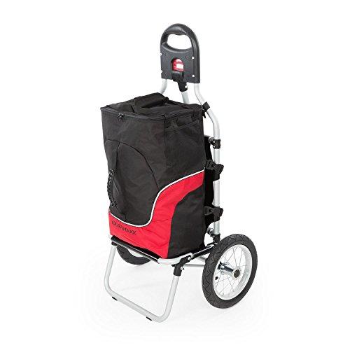 Duramaxx Carry - Carrito Remolque para Bicicleta, Carga hasta 20 kg, Bolso Desmontable con Cremallera, Neumáticos de 12 Pulgadas, Instalación práctica, Protección Lluvia, Descarga rápida, Rojo