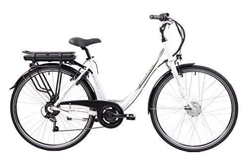 F.lli Schiano E- Moon Bicicleta eléctrica, Adultos Unisex, Blanco, 28'