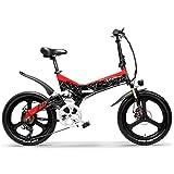 LANKELEISI G650 Bicicleta eléctrica Plegable de 20 Pulgadas 400W 48V 10.4Ah/12.8Ah/14.5Ah Batería de ión de Litio 5 Nivel Pedal Assist Suspensión Completa (Negro Rojo, 14.5Ah estándar)