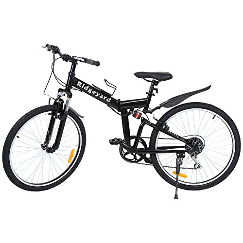 Ridgeyard 26' 7 velocidades Plegable Bicicleta Folding Bike Bicicleta de montaña Shimano (Negro)