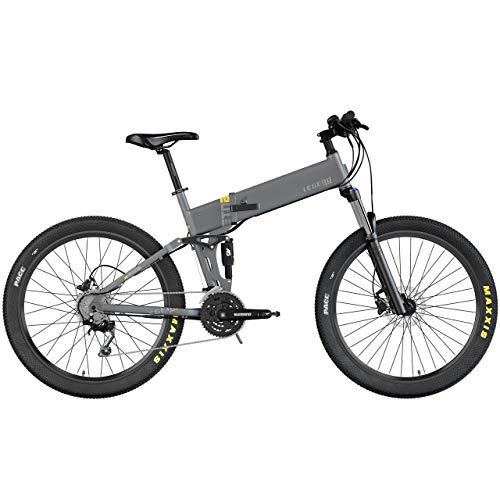 Legend ETNA 500W 45km/h Bicicleta eléctrica de montaña MTB Smart eBike 27,5', Doble suspensión RockShox + KS, Frenos de Disco hidráulico, batería 10,5 Ah Panasonic, Gris Titanium