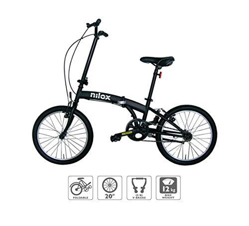 Nilox Micro Bike 20P-X0 Bicicleta (Plegado, Completo, Acero, 50,8 cm (20'), Cadena), Unisex Adulto, Negro