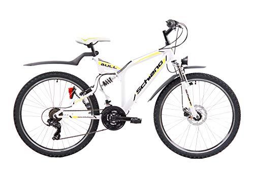 F.lli Schiano Bull Bicicleta de Doble suspensión, Adulto Unisex, Blanco Amarillo, 26''