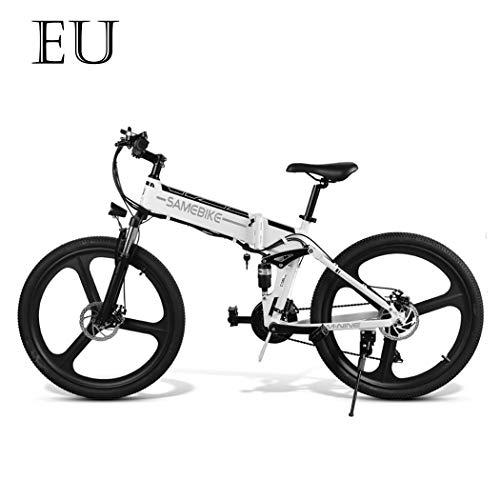 Adolenb Bicicleta eléctrica de 26 pulgadas, plegable, de montaña, con gran capacidad (48 V, 350 W), doble suspensión y 21 velocidades Shimano, color Blanco, tamaño 66,04 cm, tamaño de rueda 26.0