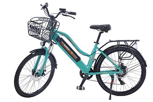 AKEZ 2020 Actualización 26 pulgadas Potente bicicleta eléctrica para mujeres bicicleta de montaña 350 W Motor 36V/13AH Batería de litio extraíble Ebike (verde)