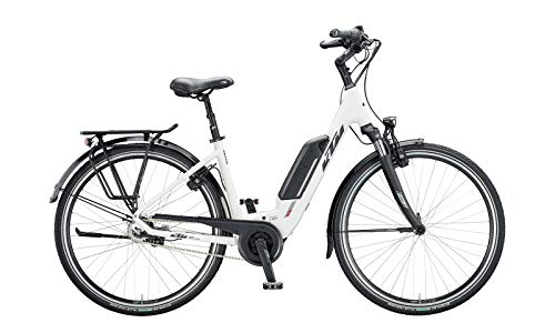KTM Macina Central 8 RT Bosch Trekking bicicleta eléctrica 2020 (28' monocromo 43 cm), color blanco mate/negro/rojo