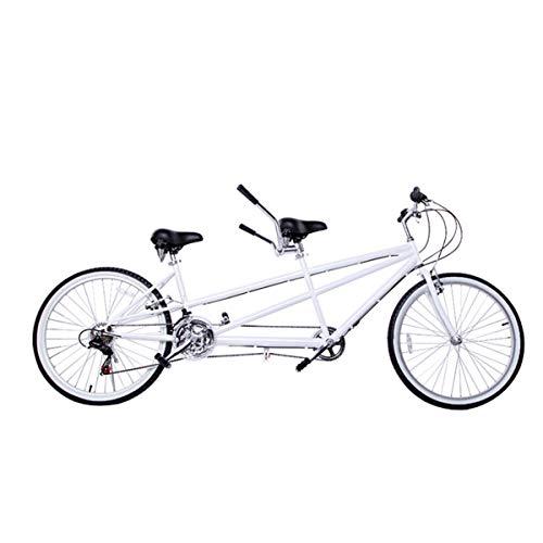 HBNW Ciudad Tándem De La Bicicleta De La Bici 26Inches Par Que Monta Entretenimiento Universal Wayfarer 18 Velocidad De Montaña Andar En Bicicleta Viajes Doble V Brake,Blanco