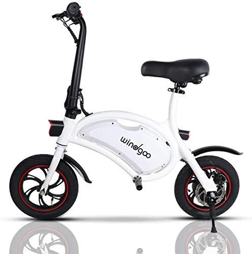 Windgoo Bicicleta Electrica 36V Plegable - E-Bike 12', Actualizar Bici Electrica Urbana Ligera para Adulto (Blanco)