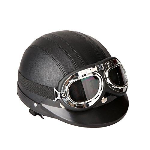 KKmoon Casco Abierto Protección para Motocicleta Scooter Bicicleta 54-60cm Ajustable con Visera UV Gafas Bufanda