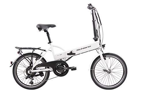 F.lli Schiano E- Sky Bicicleta eléctrica Plegable, Unisex Adulto, Blanca, 20'