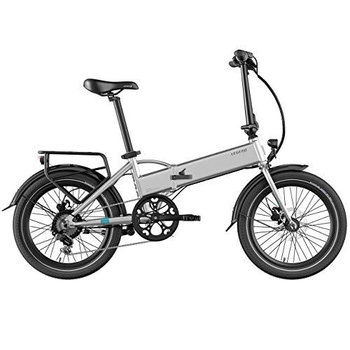 Legend eBikes Bicicleta Eléctrica Plegable Compacta con Rueda de 20 Pulgadas, Batería 36V 10.4Ah (374.4Wh), Plata