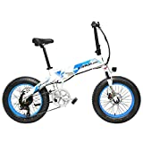 LANKELEISI X2000 20 Pulgadas Bicicleta Grasa Plegable Bicicleta Eléctrica 7 Velocidad Bicicleta de Nieve 48V 12.8Ah 500W Motor 5 Pas Bicicleta de Montaña (Negro Verde, 10.4Ah)