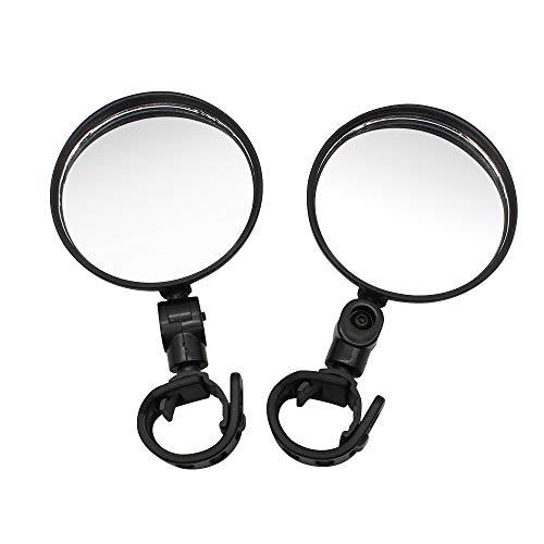 Dylan-EU 2 pcs de Espejos de Bicicleta Espejos Retrovisores de Bicicleta de Plástico Negro Espejo de Manillar Ajustable de 360 ° Espejo Convexo para Bicicleta de Montaña y Carretera