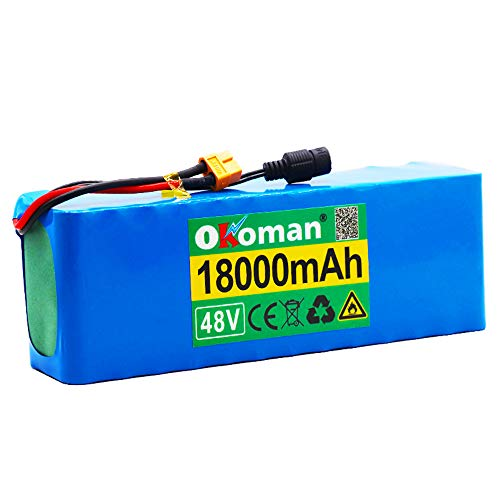 Paquete Batería De Iones De Litio para Bicicleta Eléctrica De 48v 13s3p 18ah Batería De Alta Potencia 1000w Bicicleta Eléctrica BMS con Enchufe Xt60 + Cargador