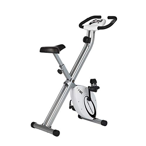 Ultrasport Unisex F-Bike Advanced, pantalla LCD, entrenador casero plegable, niveles de resistencia ajustables, con sensores de pulso de mano, entrenador de bicicleta plegable, para atletas y mayores