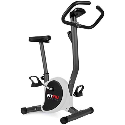 FITFIU Fitness BEST-100 Bicicleta estática compacta color Gris, regulable en 8 niveles de resistencia, sillín ajustable en altura y pantalla LCD, Entrenamiento fitness en casa