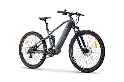 Moma Bikes Bicicleta Eléctrica E-MTB 29' Full Suspension, Shimano 24vel, frenos hidráulicos, batería Litio 48V 13Ah (624Wh)