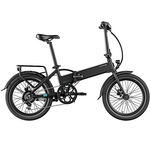 Legend Monza Bicicleta Eléctrica Plegable Smart eBike Ruedas de 20 Pulgadas, Frenos de Disco Hidráulicos, Batería 36V 14Ah Panasonic (504Wh), Negro Onyx