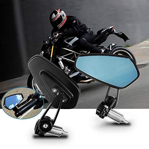 Espejos Retrovisores de Moto, Aolead 7/8' Retrovisor Moto Con Manillar para Moto Bicicleta Eléctrica de Scooter-Azul