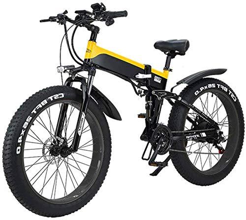 Bici electrica, Bicicleta plegable eléctrico for adultos, ligero marco de aleación de 26 pulgadas Neumáticos bicicleta de montaña eléctrica con con pantalla LCD, 500W vatios de motor, 21/7 plazos de e