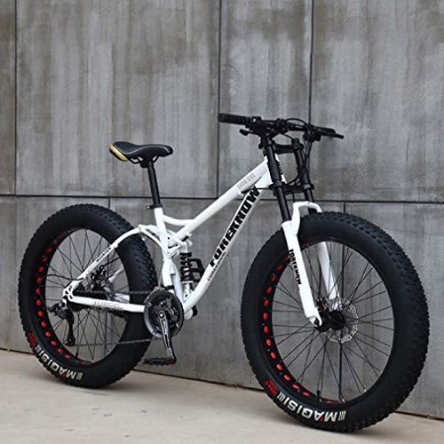 AISHFP 26 Pulgadas Fat Tire Bicicleta Todo Terreno, Motos de Nieve Beach, Doble Freno de Disco del Crucero de Bicicletas, Marco Ligero Acero de Alto Carbono,Blanco,27 Speed