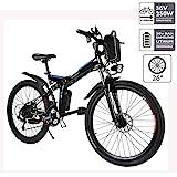 cooshional Bicicleta Eléctrica Plegable de Montaña con la Batería de Iones de Litio 36V Ruedas de 26 Pulgadas Color Blanco (EU, Negro)