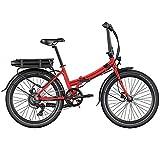 Legend Siena Bicicleta Eléctrica Plegable Urbana Smart eBike Ruedas de 24 Pulgadas, Frenos de Disco Hidráulicos, Batería 36V 10.4Ah Panasonic (374.4Wh), Rojo Strawberry