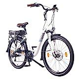NCM Munich Bicicleta eléctrica Urbana, Bici de Paseo, 250W, Batería 36V 13Ah 468Wh, (26' Blanco)