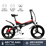 LANKELEISI G650 Bicicleta Eléctrica 20 x 2.4 Pulgada Bicicleta de Montaña Bicicleta Eléctrica Plegable Ciudad 400w 48v 10.4ah Batería de Litio Shimano 7 Velocidades (Amarillo +1 batería Extra) (Rojo)