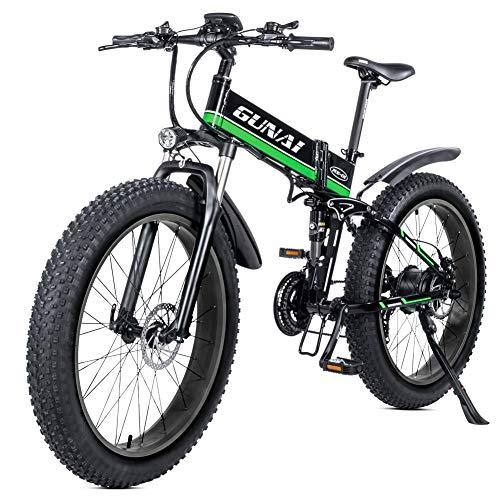GUNAI Bicicleta eléctrica de montaña, 26' 1000W Batería 48V E-Bike Sistema de Transmisión de 21 Velocidades con Linterna con Batería de Litio Desmontable