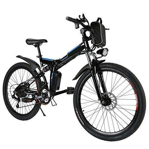 ANCHEER Bicicleta Eléctrica de Montaña Bicicleta Eléctrica de 26 Pulgadas Plegable con Batería de Litio (36V 250W) 21 Velocidades de Suspensión Completa Premium y Equipo Shimano (Negro Plegable)