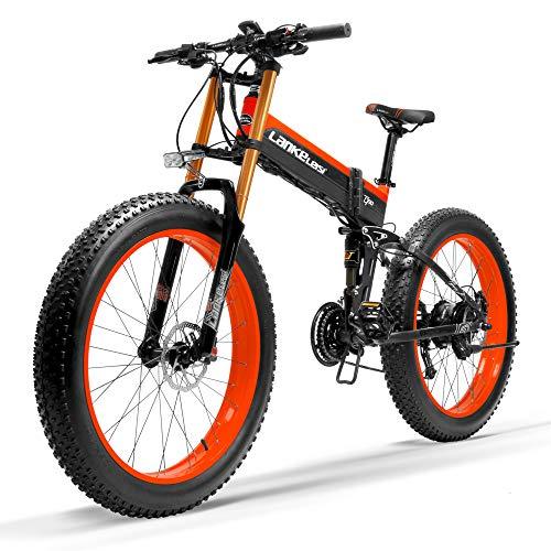LANKELEISI T750Plus Nueva eléctrico bicicleta de montaña 5Level Pedal Assist Sensor 1000W Estándar rojo