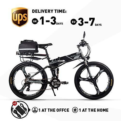 RICH BIT Bicicleta Eléctrica 250W Bicicleta Plegable de Montaña LG Li Batería 36V *12.8 Ah Smart eBike 26 Pulgadas MTB RT-860 para Hombres/Adultos (Gris)