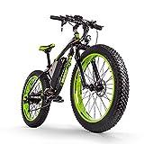 RICH BIT Bicicleta eléctrica para Hombres Adultos Big Tire Ebike 26'4.0, Potente Motor de 1000W, Snowbike con batería reemplazable 48V * 17Ah (Verde Oscuro)