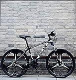 AISHFP 26 Pulgadas de Bicicletas de montaña, Doble Freno de Disco Trek Bicicletas, Marco de aleación de Aluminio/Ruedas, Playa de Motos de Nieve de Bicicletas,Negro,27 Speed