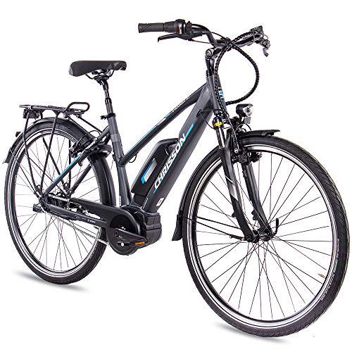 CHRISSON Bicicleta eléctrica para mujer, 28 pulgadas, bicicleta de trekking y ciudad, color antracita mate, 7 marchas Shimano Nexus, Pedelec con motor central Bosch Active Line 250 W, 40 Nm