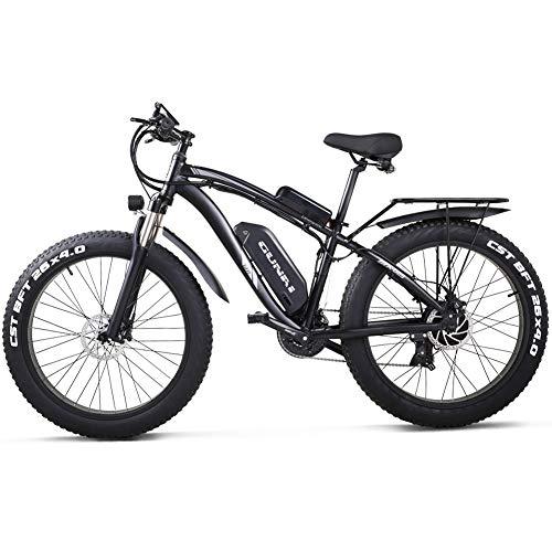 GUNAI Bicicleta eléctrica 1000W 26 Pulgadas Beach Cruiser Fat Bike con Batería de Litio de 48V 17AH (Negro)