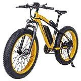 Shengmilo 1000W Motor Eléctricas,26 Pulgadas Mountain E-Bike, Bicicleta Plegable Eléctrica, Neumático Gordo de 4 Pulgadas, Solo Una Batería Incluida (Amarillo)