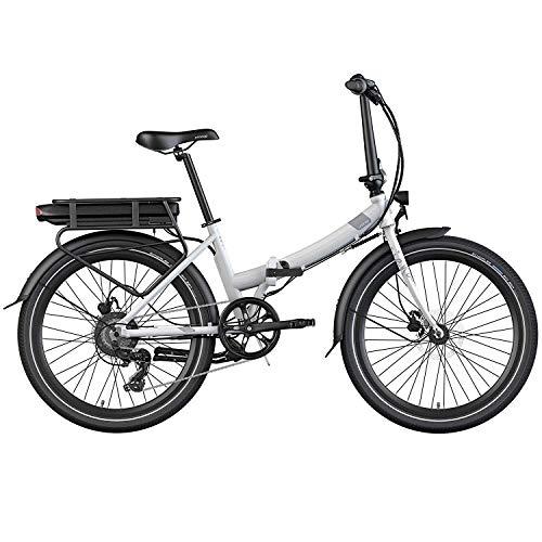 Legend Siena Bicicleta Eléctrica Plegable Urbana Smart eBike Ruedas de 24 Pulgadas, Frenos de Disco Hidráulicos, Batería Ion 36V (Batería Sanyo-Panasonic 374.4Wh   Autonomía 80km, Blanco Artic)