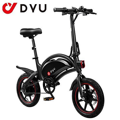 AmazeFan DYU D3F Bicicleta eléctrica Plegable de montaña, Bicicleta de aleación de Aluminio de 240 W, batería extraíble de Iones de Litio de 36 V / 10 Ah con 3 Modos de conducción