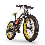 RICH BIT Bicicleta eléctrica RT-012 1000W Motor sin escobillas 48V * 17Ah LG Li-Battery Smart e-Bike Freno de Disco Doble Shimano 21 velocidades (Black-Yellow)
