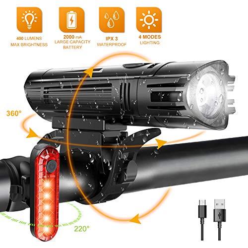 WOTEK Luces para Bicicleta LED Impermeable, Luces Bicicleta Delantera y Trasera Recargable USB, 4 Modos de Lluminación Linterna LED Batería de 2000mA para Ciclismo Carretera y Montaña para la Noche
