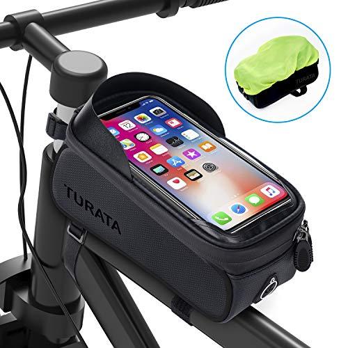 TURATA Bolsas de Bicicleta, Bolsa Impermeable para Bicicleta, Bolsa Táctil de Tubo Superior Delantero con Orificio para Auriculares para Teléfono Inteligente por Debajo de 6,5 Pulgadas (Negro)