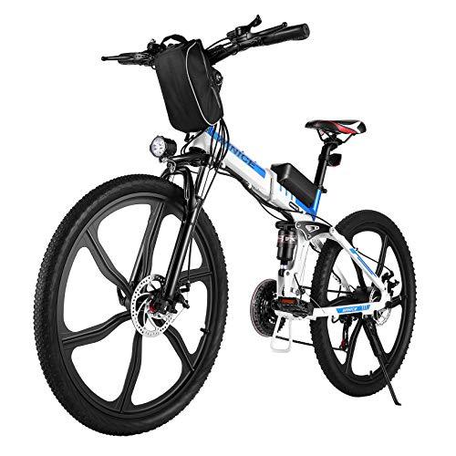 VIVI Bicicleta Eléctrica Plegable, 26' Bicicleta Montaña Adulto, Bicicleta Electrica Montaña, 250W Bicicletas Eléctricas con Batería Extraíble De 8Ah, Profesional 21 Velocidades, Doble Suspension